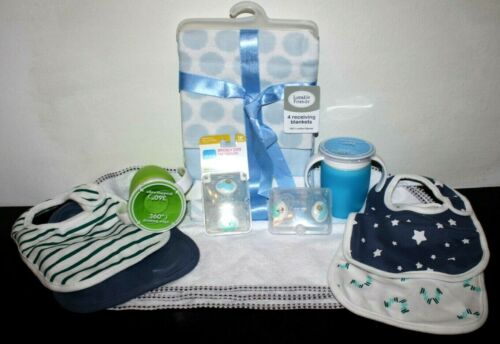 NEW Lot of Infant Baby Toddler Items Bibs, Blankets, Spit Up Towels, Cups & More
