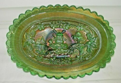 """BEAUTIFUL 8 1/2"""" IMPERIAL WINDMILL PICKLE DISH IN GREEN"""