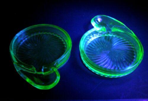 2 vtg Uranium Green Glass Coasters w/Spoon Rest G C Elliott MacBeth-Evans 1920