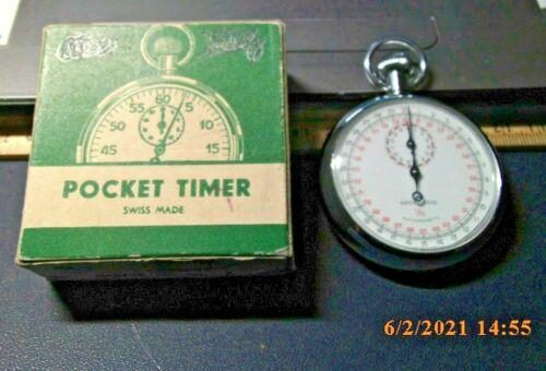 UNICHRON 7 Jewels Swiss Made 1/10 SECOND Shock Resistant Stopwatch w box working
