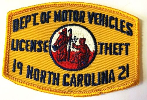 NC NORTH CAROLINA  MOTOR VEHICLES LICENSE THEFT ENFORCEMENT DIVISION 1921 PATCH