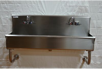 Industrial Wash Up Hand Sink 2 Station 48 Ceramic Valves Stainless Steel