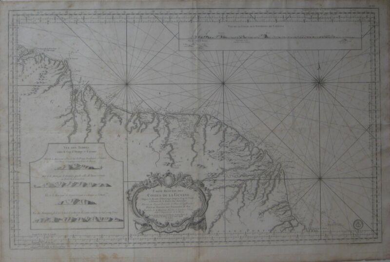 Original 1760 Bellin Nautical Map GUIANAS Devil