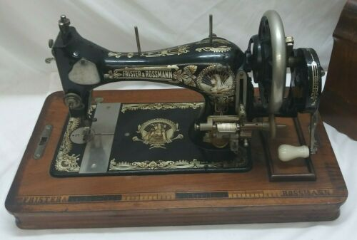 Frister & Rossmann Antique Handcrank Sewing Machine, Egyptian, Case w/Key, 1920s