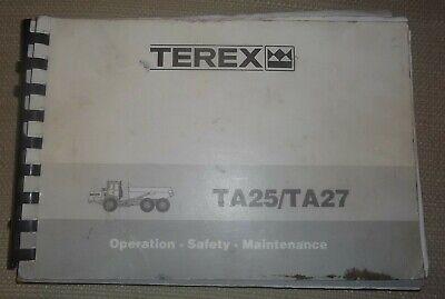Terex Ta25 Ta27 Dump Truck Operator Operation Maintenance Manual Book