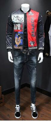 European Designer Style Print Multicolor Medusa & Lion Bomber Jacket Men Size L