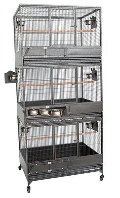 Large Triple Stackers Breeding Breeder Parrot Aviary Wrought Iron Bird Cage 254