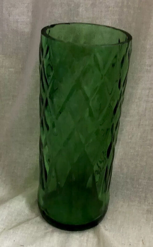 Owens Illinois Green Depression Glass Vase Drinking Glass 1 Pint Vintage Rare