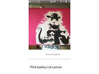 Banksy canvas. Artwork.