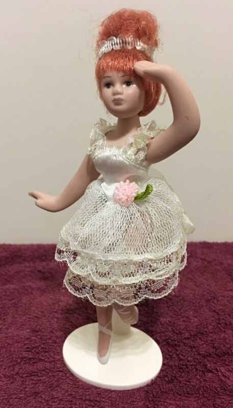 Porcelain Poseable Ballerina Doll On Stand 6 1/4 Inch Tall