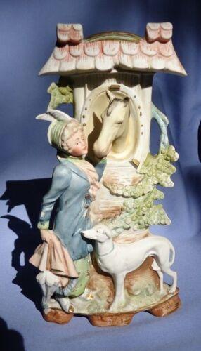 "GREYHOUND dog HORSE Victorian lady spill vase Germany 9"""
