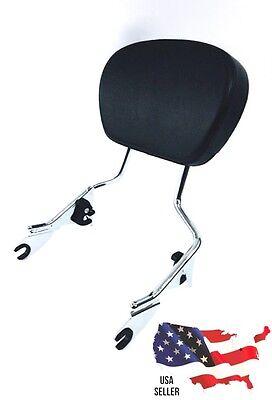 TALL CHROME harley Detachable Passenger backrest & pad ROAD KING STREET GLIDE 09
