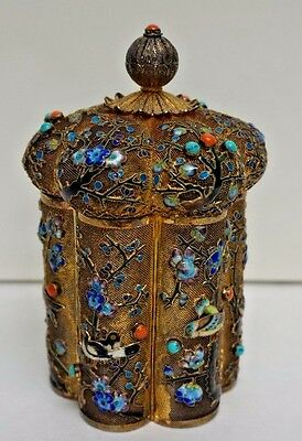 Chinese Filigree Gilt Sterling Silver And Enameled Tea Caddy Box