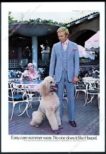 1976 standard poodle photo Haspel men's suit fashion vintage print ad