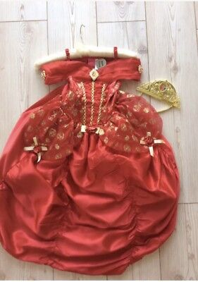 Disney Red Belle Deluxe Costume Dress Up Complete Outfit & Tiara Age 3/4 Hooped