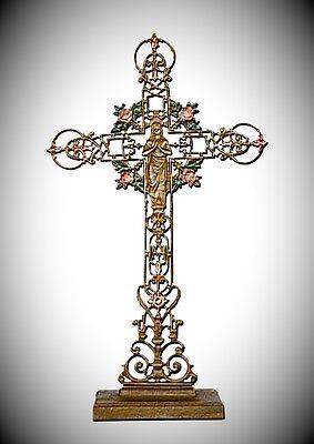 Kreuz Kruzifix Skulptur für Hausaltar riesengroß Wegekreuz Eisen farbig Vintage