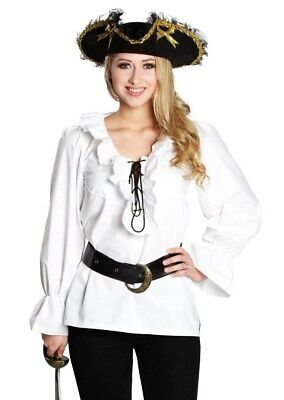 RUB 13863 Damen Kostüm Fasching Halloween Piratenbluse Bluse Pirat weiß