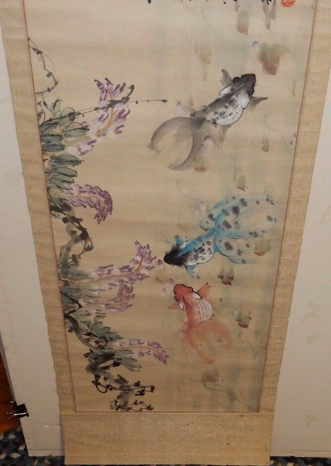 Large old chinese original watercolor koi fish painting for Chinese koi fish for sale