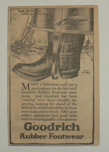 "Goodrich Rubber Footwear, 1921 Original Newspaper Ad, 7"" x 10"", Excellent"