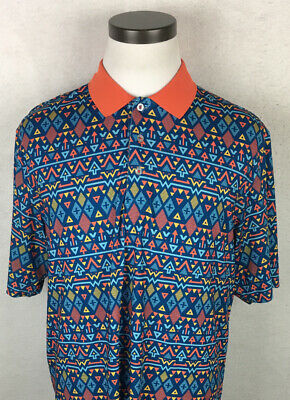 Roadies Clothing Aztec Print Short Sleeve Golf Polo Shirt Men's Large L