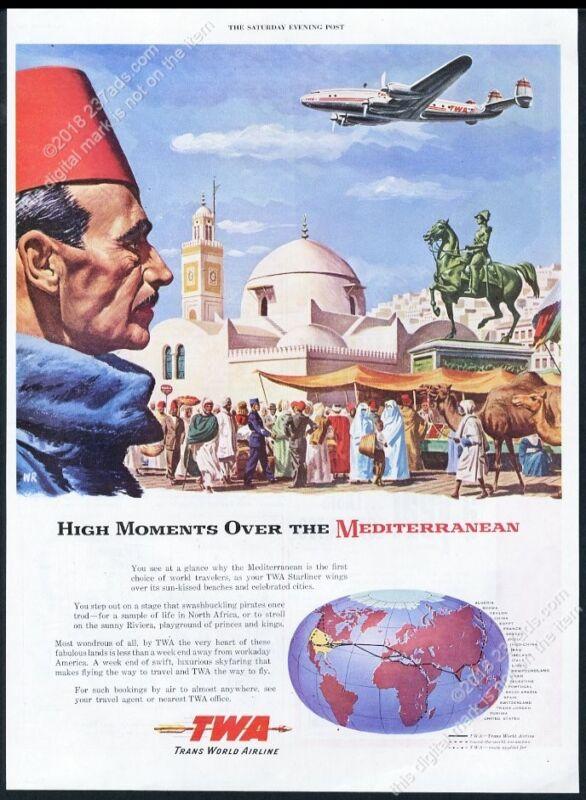 1947 TWA airlines plane over Mediterranean city art vintage print ad