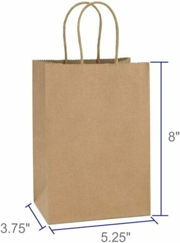 Premium 5.25x3.75x8 Brown Kraft Paper Bag Party Shopping Gift Bags with Handles