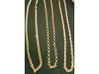 9ct gold plated heavy rope. Belcher. Curb chain