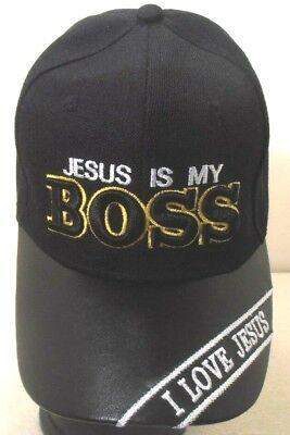 RELIGIOUS BALL CAP  NEW  JESUS IS MY BOSS I LOVE JESUS  BLACK  HAT CHRISTIAN