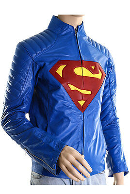 Superman Man of Steel Clark Kent Henry Cavill Blue Real Leather Jacket Costume
