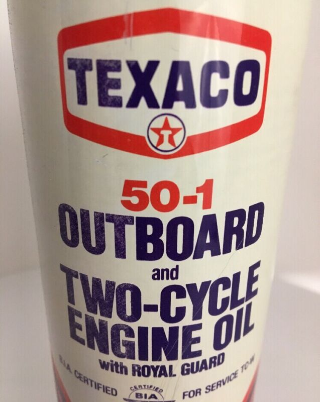 """*VINTAGE* TEXACO OIL CAN """"FULL"""" Poptop Outboard Motor 2 Cycle  50-1 16 oz Pint"""