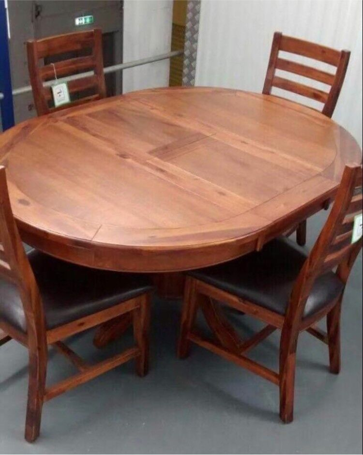 Solid Acacia Wood Round Extending Pedestal Dining Table Four Mark