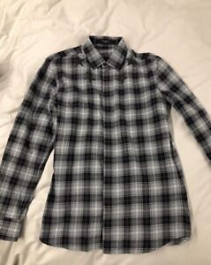 Givenchy grey plaid button up shirt sz XS