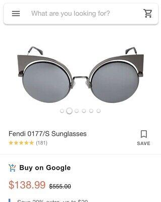 FENDI EYESHINE SUNGLASSES FF 0177/S Dark Ruthenium Silver Mirror (Fendi Eyeshine Sunglasses)