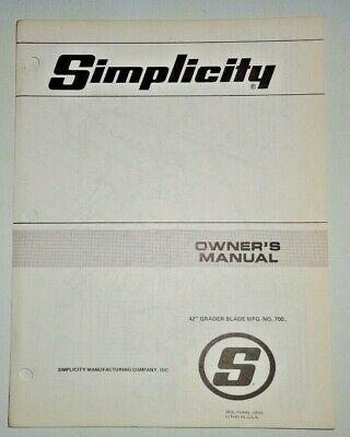 Simplicity 42 Mfg. No. 700 Grader Blade Owners Parts Manual Original