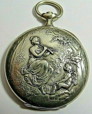 ANTIQUE FANCY SWISS OMEGA POCKET WATCH GREEK GODDESS CASE ONLY 16'S SILVER TONE