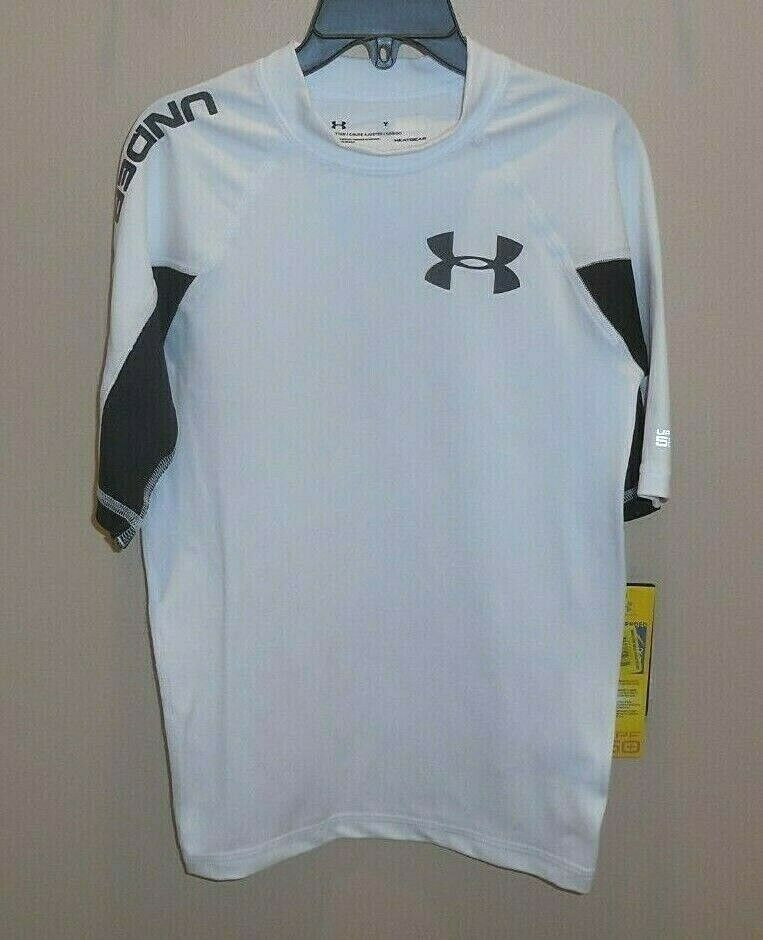 Under Armour Boys Large Rash Guard Swim Shirt Top UPF 50+ Wh