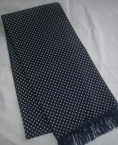 Men's Retro Navy Blue Polka Dot Skinny Fringed Scarf (Handmade New)