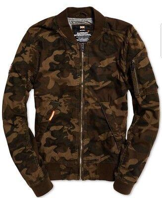 Superdry Men's Brown Camo Rookie Duty Fleece Lined Bomber Full Zip Jacket
