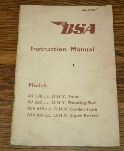 BSA Motorcycle Instruction Manual 500cc and 650cc