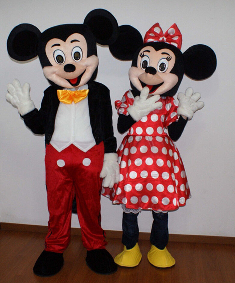 Hot!New Mickey and Minnie Mouse Mascot Costume Fancy Dress ...