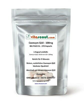 Coenzym Q10 - 100 mg PRO KAPSEL - 270 Kapseln - für 9 Monate! von VITASCOUT®