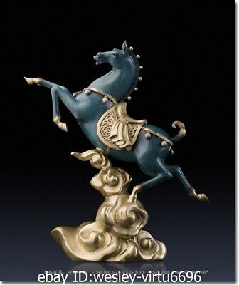 Wester Pure Brass Copper Hand Painting Marble Art Decoration Horse - Wester Decor
