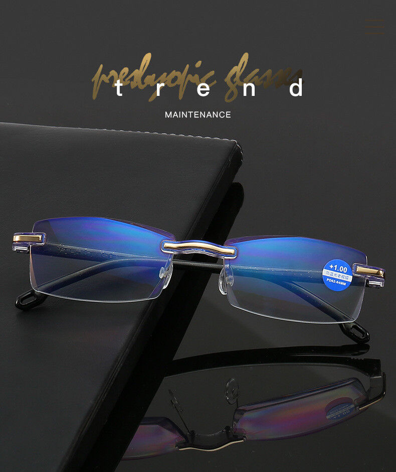 Unisex Rimless HD Blu-ray Reading Glasses  Readers Filter Bl