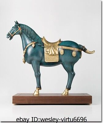 China Brass Copper Hand Painting Zodiac Year Tang Horse Horses Animal Sculpture