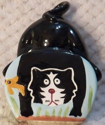 Clay Art Ceramic Cat In A Fishbowl Stackable Salt & Pepper Shakers