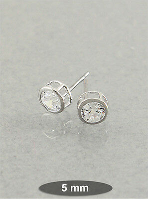 Silver Contemporary Bezel Set 5mm Clear Crystal Round Post Earrings