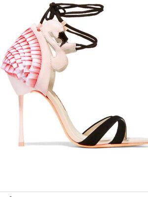 Sophia Webster Flamingo Frill Lace Up Sandals 36.5 Stiletto Open Toe Pink Black