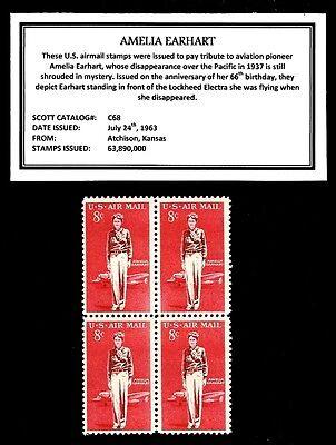 1963 - AMELIA EARHART -  Block of Four Vintage U.S. Airmail Stamps