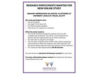 URGENTLY NEEDED! RESEARCH PARTICIPANTS WANTED FOR NEW ONLINE STUDY