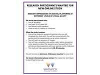 NEEDED!! RESEARCH PARTICIPANTS FOR NEW STUDY - PAID OPPORTUNITY
